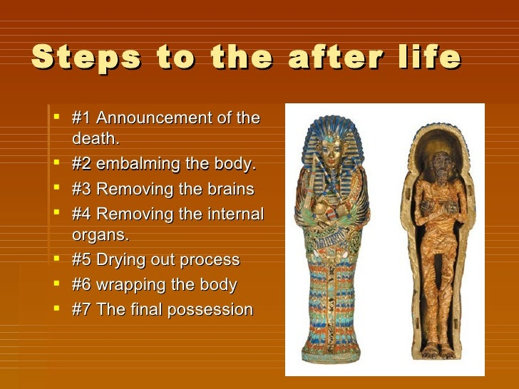 a report on the egyptian process of mummification Mummification had a great affect on egyptian culture, and became a part of their religion, and it evolved over time some animals where mummified for use of most human burial rituals, but where mostly for certain classes of people.