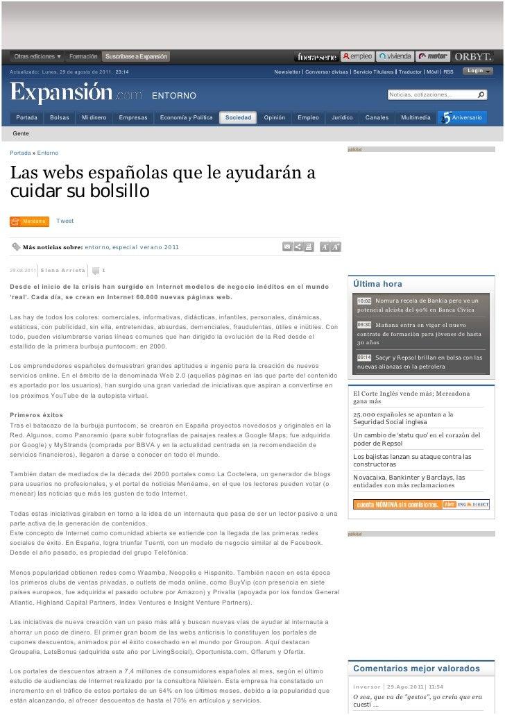 """Mundoofertas Muestras gratis en Expansion: """"Las webs españolas que le ayudarán a cuidar su bolsillo"""" (Expansión.com) - 29AG11"""