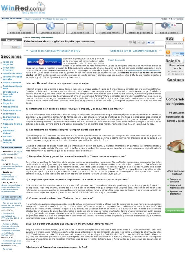 """Mundo Ofertas en Winred.com """"Estudio sobre ahorro digital en España"""" 04NOV10"""
