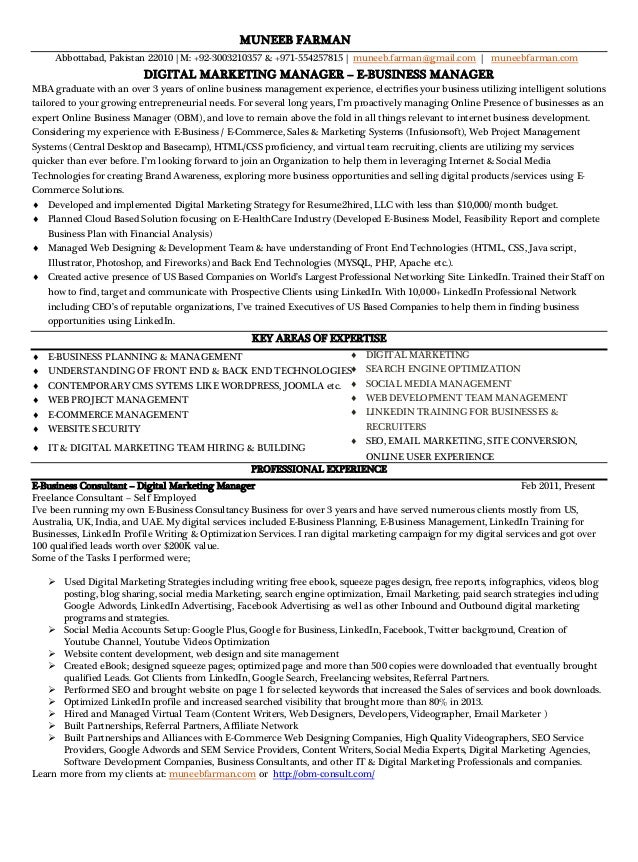 Sample Online Marketing Manager Resume  Resume Marketing Manager