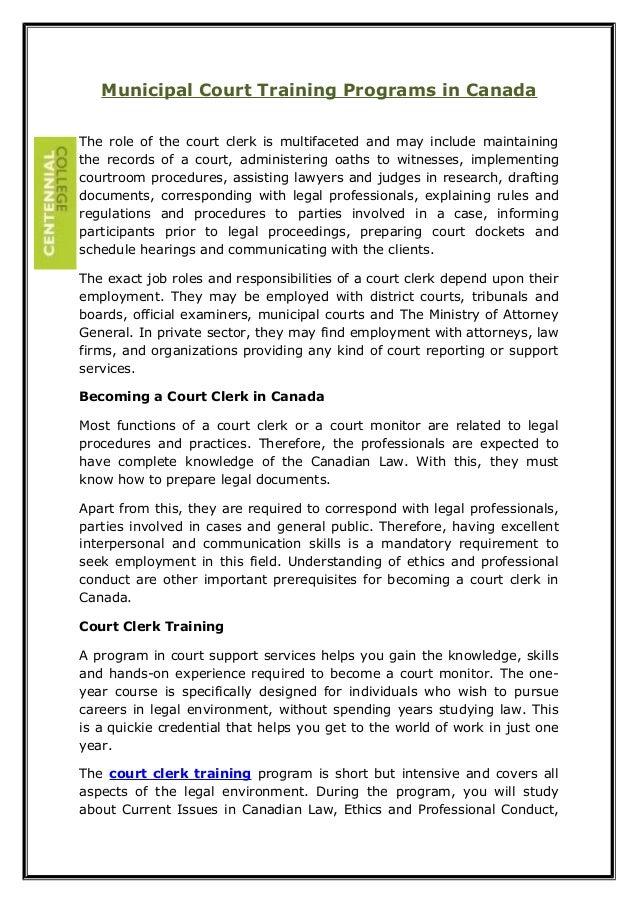 Municipal court training programs in canada