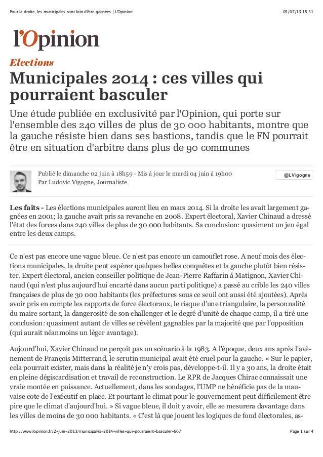 05/07/13 15:31Pour la droite, les municipales sont loin d'être gagnées | L'Opinion Page 1 sur 4http://www.lopinion.fr/2-ju...