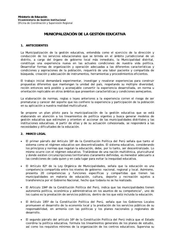 Ministerio de Educación Viceministerio de Gestión Institucional Oficina de Coordinación y Supervisión Regional            ...