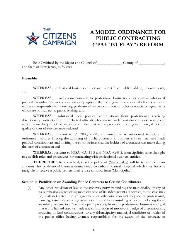 Sample municipal Pay-to-Play ordinance - The Citizens Campaign