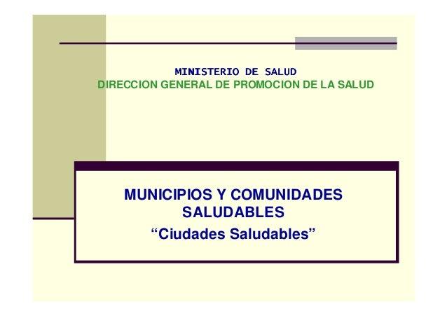 MINISTERIO DE SALUDMINISTERIO DE SALUDMINISTERIO DE SALUDMINISTERIO DE SALUD DIRECCION GENERAL DE PROMOCION DE LA SALUD MU...