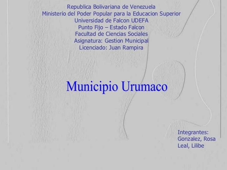 Republica Bolivariana de Venezuela Ministerio del Poder Popular para la Educacion Superior Universidad de Falcon UDEFA Pun...