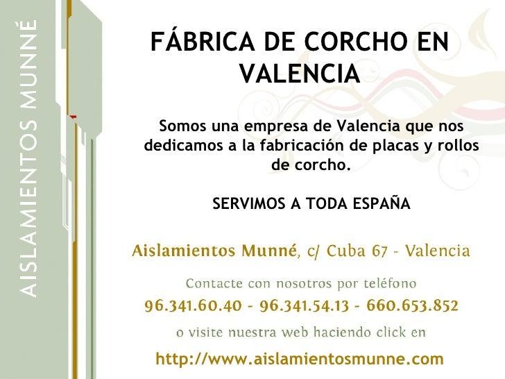 FABRICA DE CORCHO EN VALENCIA