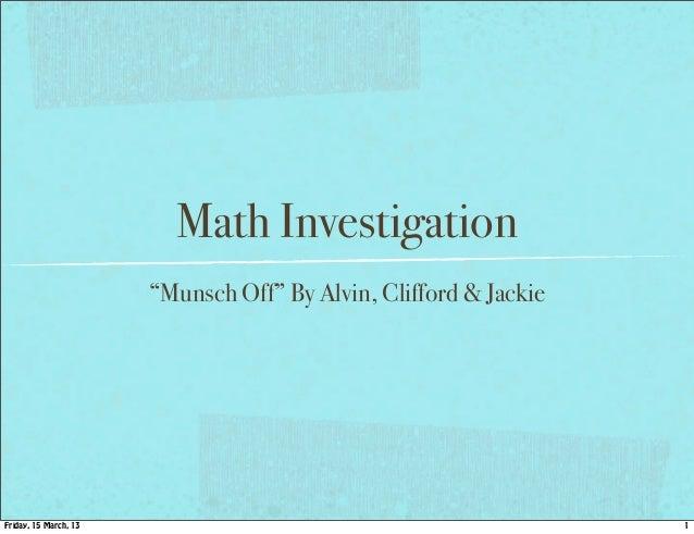 Munsch off investigation