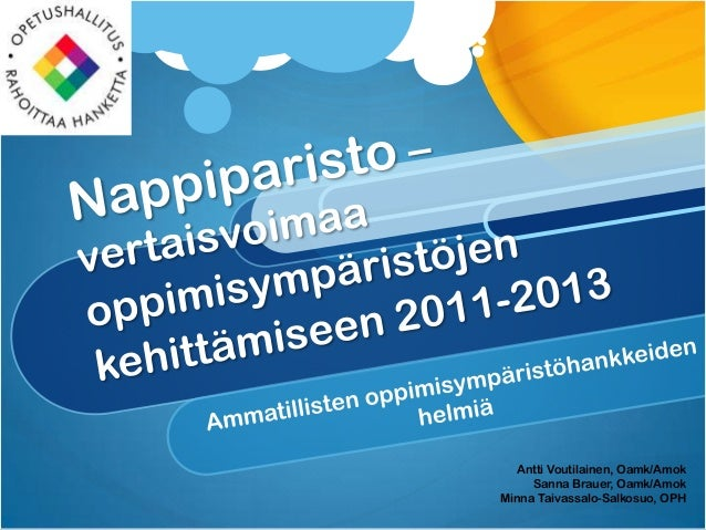 Oppimisympäristöhankkeiden helmet VVOP 2013