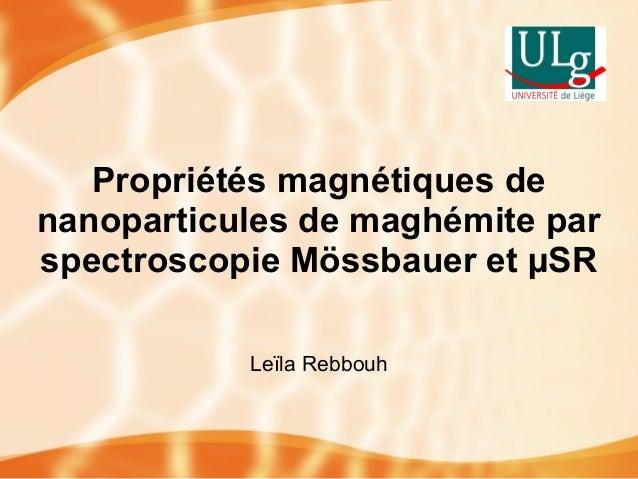 Propriétés magnétiques de nanoparticules de maghémite par spectroscopie Mössbauer et µSR Leïla Rebbouh