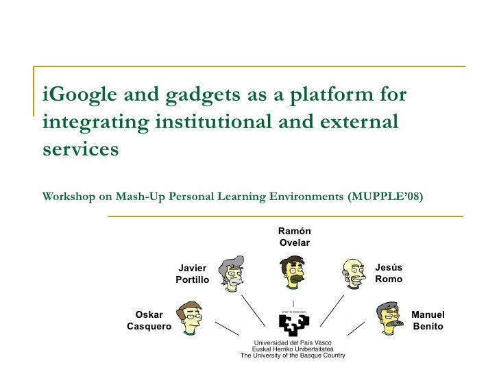 iGoogle and widgets as a platform for integrating institutional and external services