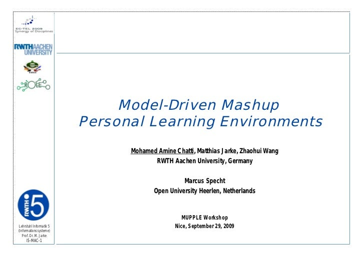 Model-Driven Mashup Personal Learning Environments