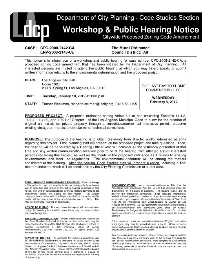 Department of City Planning · Code Studies Section                                    Workshop & Public Hearing Notice    ...