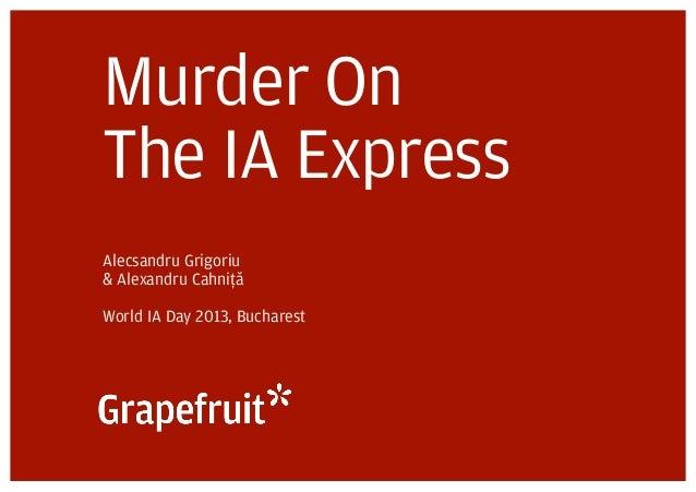 Murder OnThe IA ExpressAlecsandru Grigoriu& Alexandru CahniþțãăWorld IA Day 2013, Bucharest