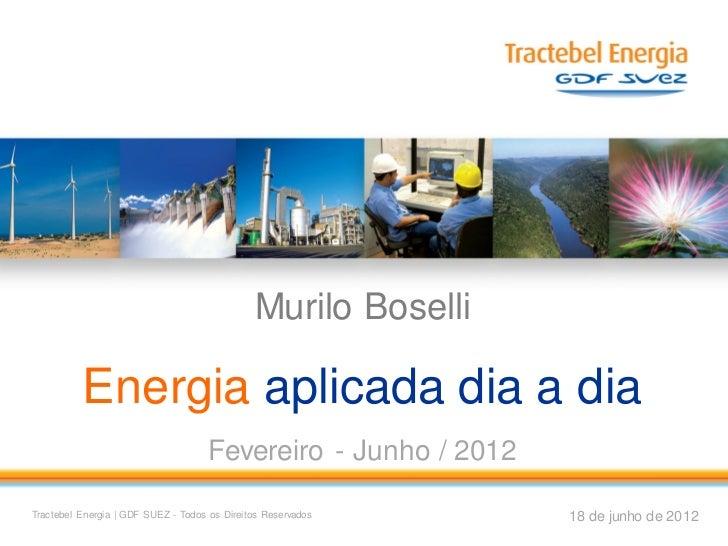 Murilo Boselli          Energia aplicada dia a dia                                     Fevereiro - Junho / 2012Tractebel E...