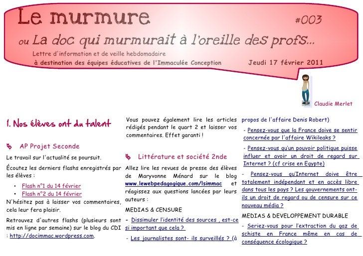 Le murmure                                                                                             #003     ou   La do...
