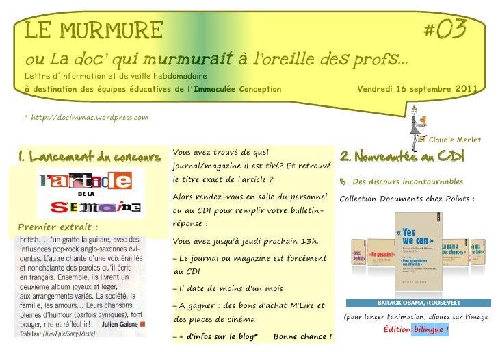 LE MURMURE                                                                                                    #03 ou La do...