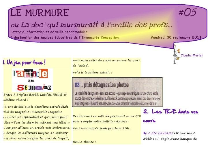 LE MURMURE                                                                                                         #05    ...