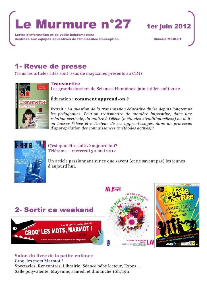 Le Murmure n°27                                                        1er juin 2012Lettre dinformation et de veille hebdo...