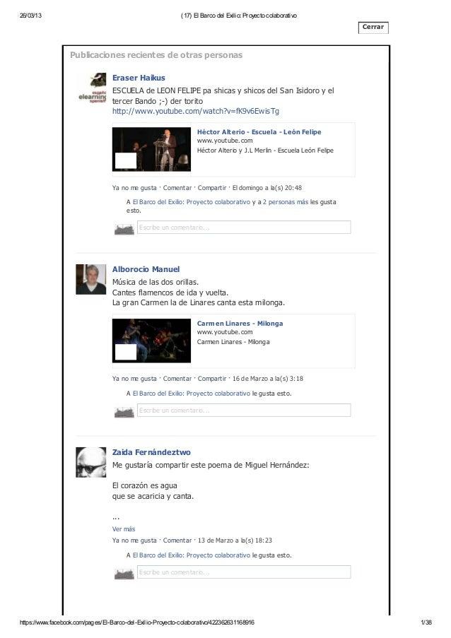 """Colaboraciones en el muro: comunidad Facebook del proyecto """"El barco del exilio"""""""