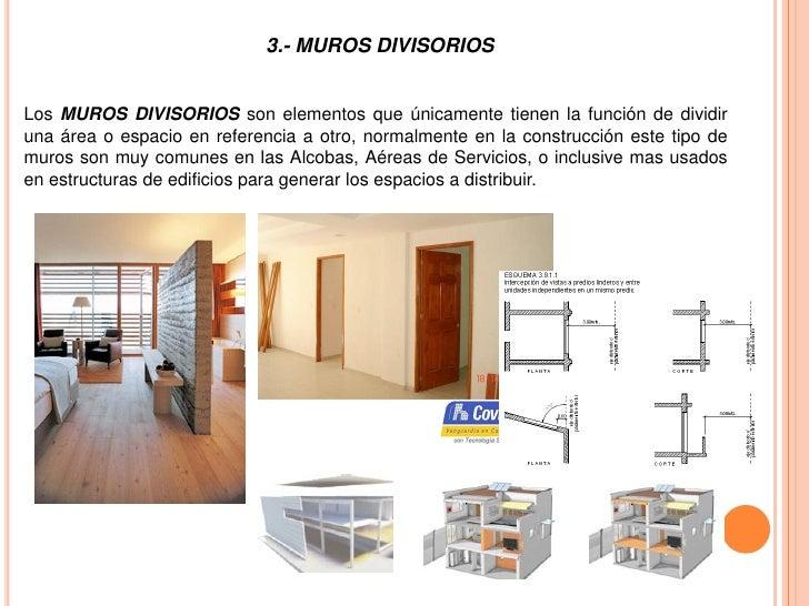 Muros divisorios for Definicion de cuarto