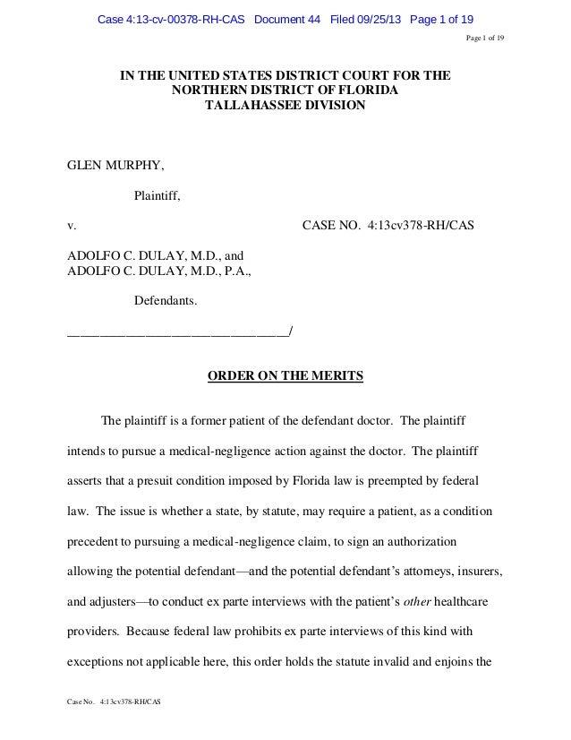 Murphy v. Dulay stricks down med mal law