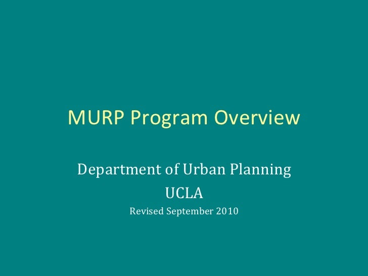 Master of Urban Planning Program Overview