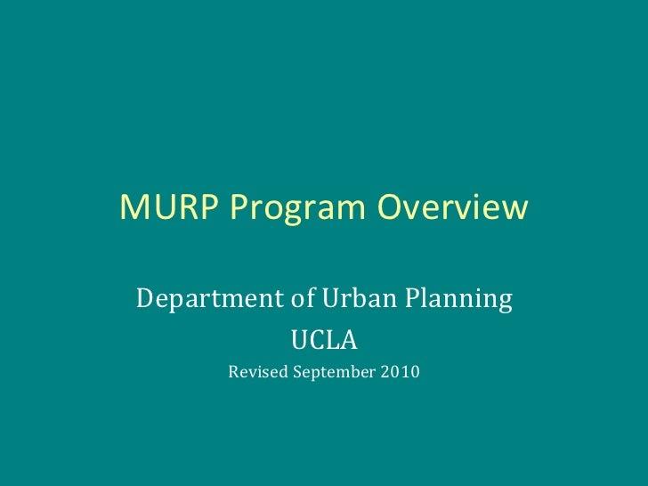 Master of Urban Planning Program Overview