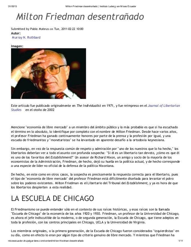 31/05/13 Milton Friedman desentrañado | Instituto Ludwig von Mises Ecuador misesecuador.drupalgardens.com/content/milton-f...