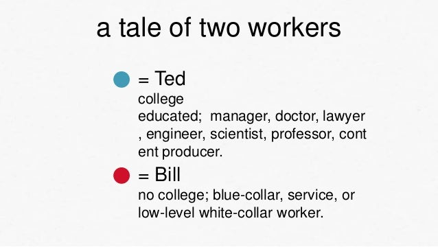 a tale of two workers   = Ted   college   educated; manager, doctor, lawyer   , engineer, scientist, professor, cont   ent...