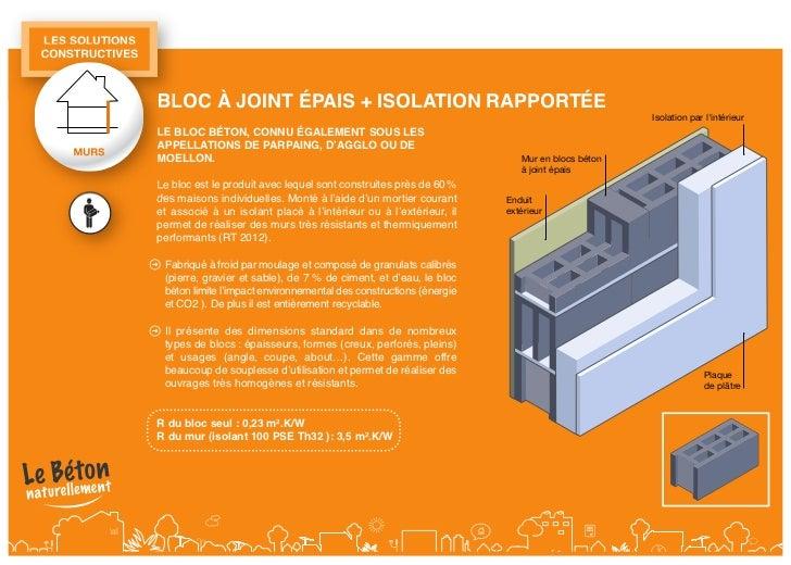 lessolutionsconstructiVes                 Bloc à joint épais + isolation rapportée                 le Bloc Béton, connu ...