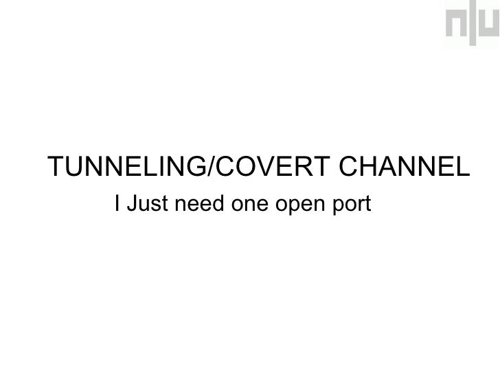 <ul><li>TUNNELING/COVERT CHANNEL </li></ul><ul><li>  I Just need one open port </li></ul>