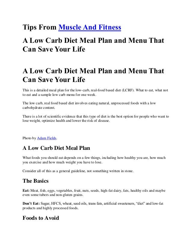 A Low Carb Diet Meal Plan and Menu That Can Save Your Life ...
