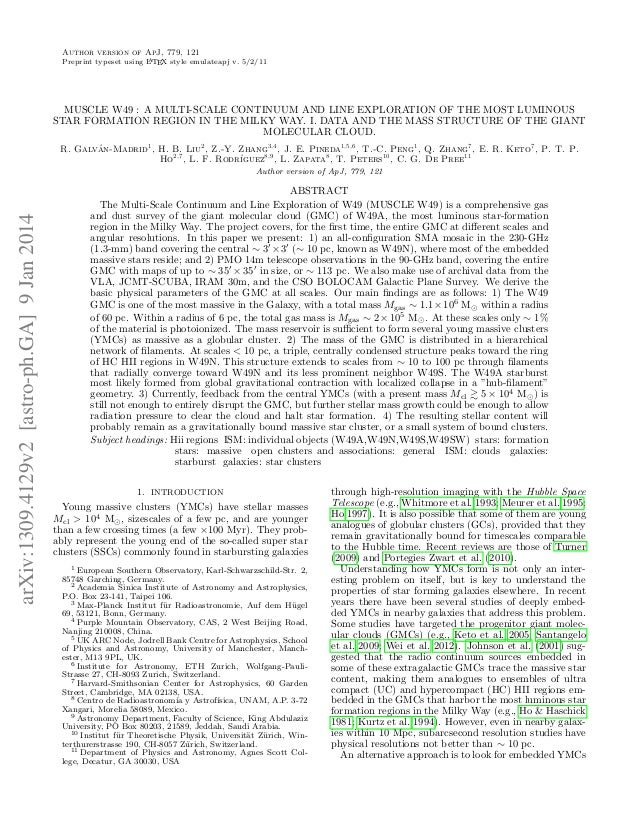 Author version of ApJ, 779, 121 A Preprint typeset using L TEX style emulateapj v. 5/2/11  MUSCLE W49 : A MULTI-SCALE CONT...