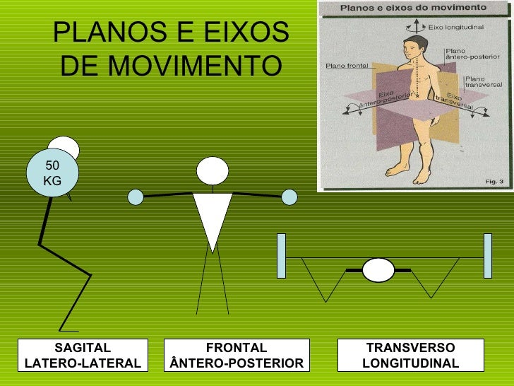PLANOS E EIXOS   DE MOVIMENTO  50  KG    SAGITAL          FRONTAL         TRANSVERSOLATERO-LATERAL   ÂNTERO-POSTERIOR   LO...