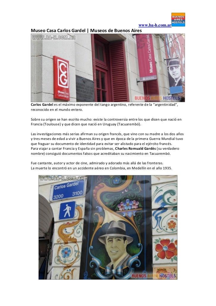 Museo Casa Carlos Gardel | Museos de Buenos Aires www.ba-h.com.ar