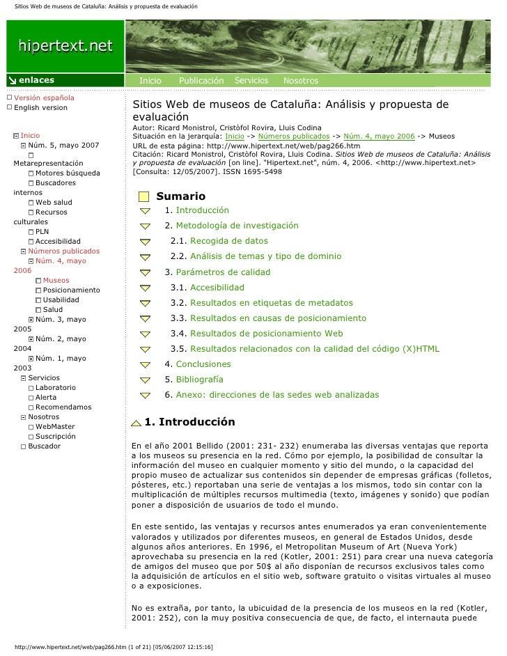 Sitios Web de museos de Cataluña: Análisis y propuesta de evaluación      enlaces  Versión española English version       ...