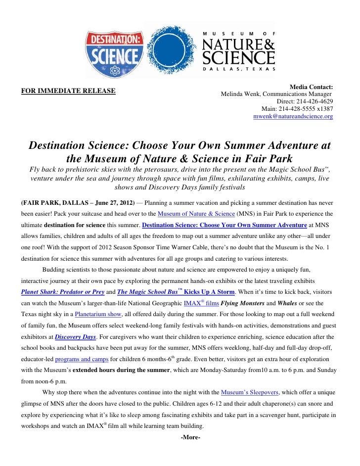 Destination Science: Summer at MNS