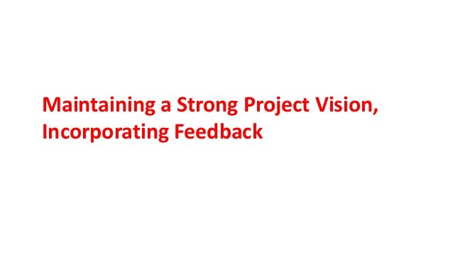 Maintaining a Strong Project Vision, Incorporating Feedback