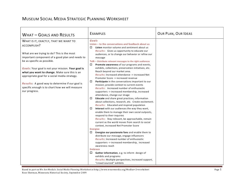 Museum Social Media Planning Worksheet