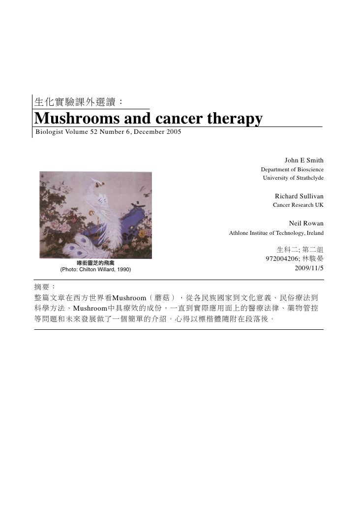 Mushrooms and cancer therapy Biologist Volume 52 Number 6, December 2005                                                  ...