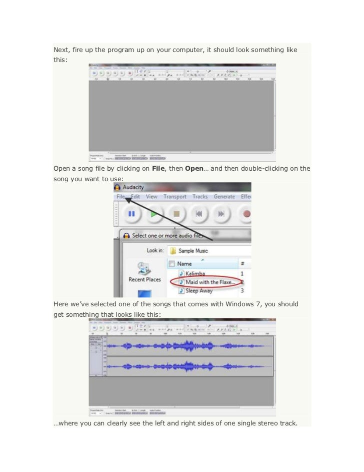 Next, fire up the program up on your computer, it should look something likethis:Open a song file by clicking on File, the...
