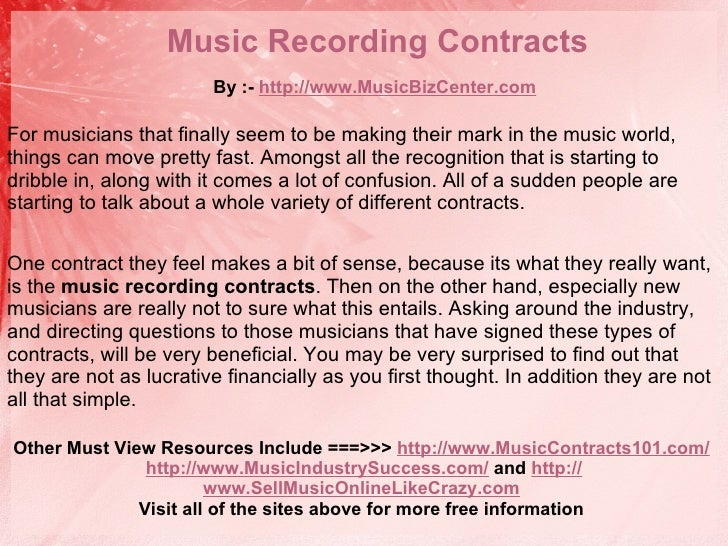 Music Recording Contracts By