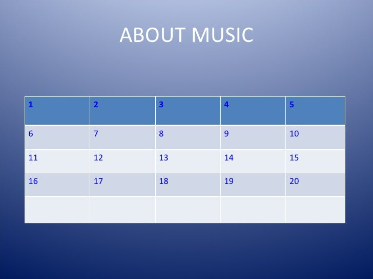 ABOUT MUSIC 1 2 3 4 5 6 7 8 9 10 11 12 13 14 15 16 17 18 19 20