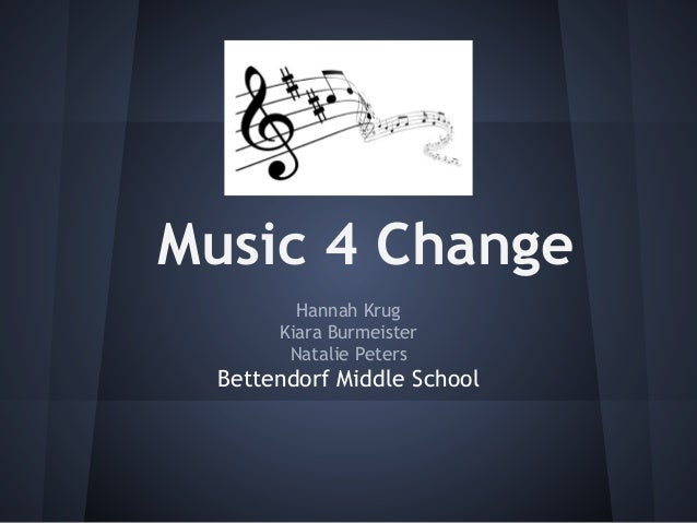 Music 4 Change Hannah Krug Kiara Burmeister Natalie Peters Bettendorf Middle School