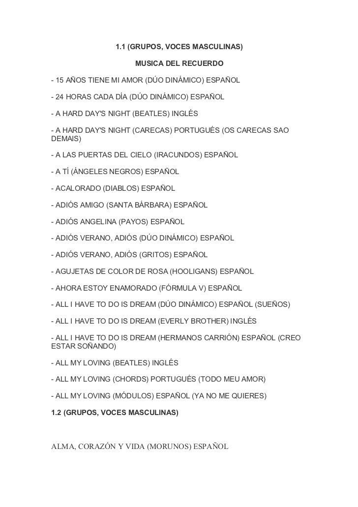 1.1 (GRUPOS, VOCES MASCULINAS)                     MUSICA DEL RECUERDO- 15 AÑOS TIENE MI AMOR (DÚO DINÁMICO) ESPAÑOL- 24 H...