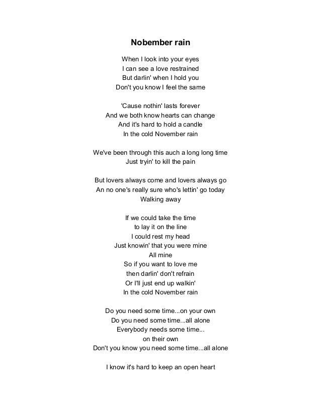 Songtekstennet  Songtekst Guns n roses  November Rain