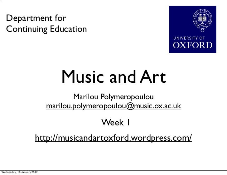 Department for   Continuing Education                                 Music and Art                                     Ma...
