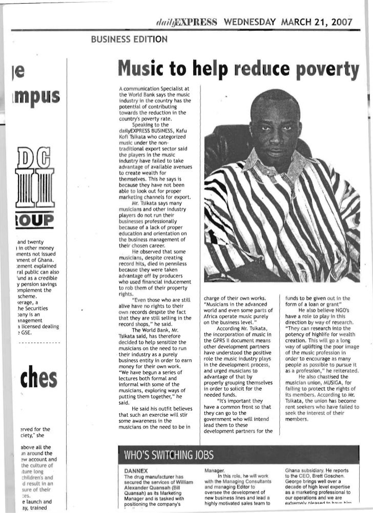 Music and Poverty Reduction in Ghana: View of an