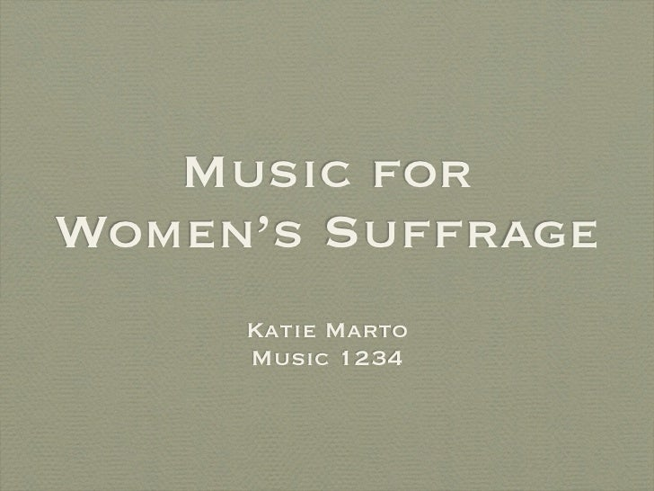 Music and Women's Suffrage
